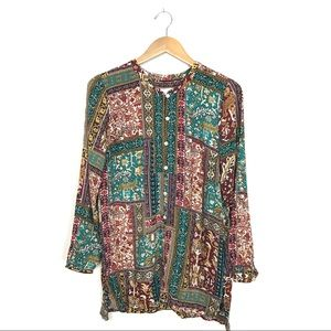 J.Jill Boho Printed Rayon Tunic Shirt Small A8